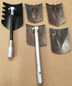 Worn Troop Tool blades sent by a USFS Hotshot crew to Dragonslayers™ for refurbishment.